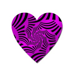 Black Spral Stripes Pink Heart Magnet