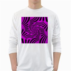 Black Spral Stripes Pink White Long Sleeve T Shirts