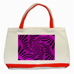 Black Spral Stripes Pink Classic Tote Bag (red) by designworld65
