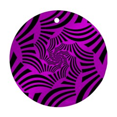 Black Spral Stripes Pink Round Ornament (two Sides) by designworld65