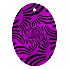 Black Spral Stripes Pink Oval Ornament (two Sides) by designworld65