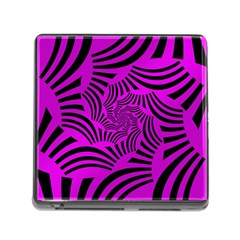 Black Spral Stripes Pink Memory Card Reader (square)
