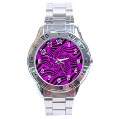 Black Spral Stripes Pink Stainless Steel Analogue Watch by designworld65