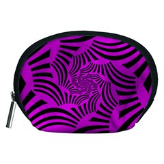Black Spral Stripes Pink Accessory Pouches (medium)  by designworld65