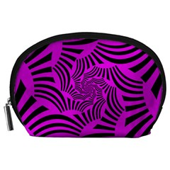 Black Spral Stripes Pink Accessory Pouches (large)  by designworld65