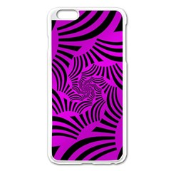 Black Spral Stripes Pink Apple Iphone 6 Plus/6s Plus Enamel White Case by designworld65