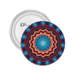 Blue Feather Mandala 2.25  Buttons