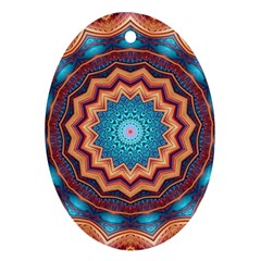 Blue Feather Mandala Ornament (oval)