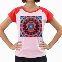Blue Feather Mandala Women s Cap Sleeve T Shirt