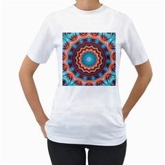 Blue Feather Mandala Women s T-Shirt (White) (Two Sided)