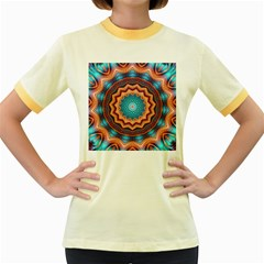 Blue Feather Mandala Women s Fitted Ringer T-Shirts