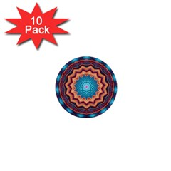 Blue Feather Mandala 1  Mini Buttons (10 pack)