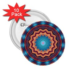 Blue Feather Mandala 2.25  Buttons (10 pack)