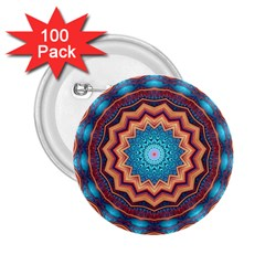 Blue Feather Mandala 2.25  Buttons (100 pack)
