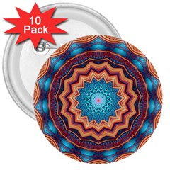 Blue Feather Mandala 3  Buttons (10 pack)
