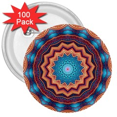 Blue Feather Mandala 3  Buttons (100 pack)