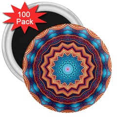 Blue Feather Mandala 3  Magnets (100 pack)