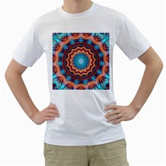 Blue Feather Mandala Men s T Shirt (white) (two Sided)