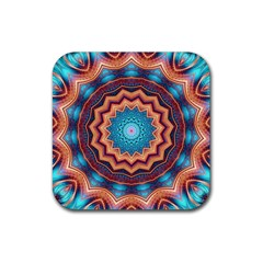 Blue Feather Mandala Rubber Coaster (square)  by designworld65