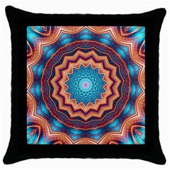Blue Feather Mandala Throw Pillow Case (black) by designworld65