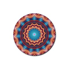 Blue Feather Mandala Rubber Round Coaster (4 pack)