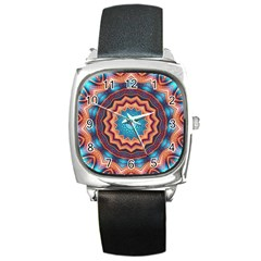 Blue Feather Mandala Square Metal Watch
