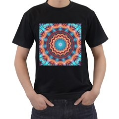 Blue Feather Mandala Men s T-Shirt (Black) (Two Sided)