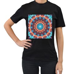 Blue Feather Mandala Women s T-Shirt (Black) (Two Sided)
