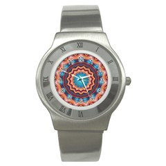 Blue Feather Mandala Stainless Steel Watch by designworld65