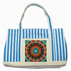 Blue Feather Mandala Striped Blue Tote Bag by designworld65