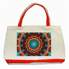 Blue Feather Mandala Classic Tote Bag (Red)