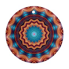 Blue Feather Mandala Round Ornament (two Sides) by designworld65
