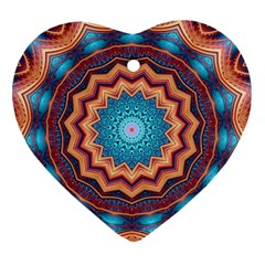 Blue Feather Mandala Heart Ornament (Two Sides)