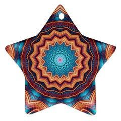 Blue Feather Mandala Star Ornament (Two Sides)