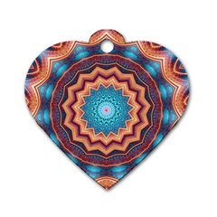 Blue Feather Mandala Dog Tag Heart (Two Sides)