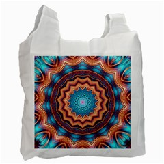 Blue Feather Mandala Recycle Bag (one Side) by designworld65