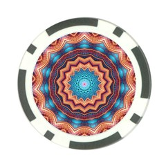 Blue Feather Mandala Poker Chip Card Guard (10 pack)