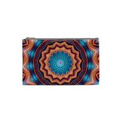 Blue Feather Mandala Cosmetic Bag (Small)