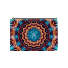 Blue Feather Mandala Cosmetic Bag (medium)
