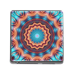 Blue Feather Mandala Memory Card Reader (Square)
