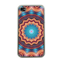 Blue Feather Mandala Apple iPhone 4 Case (Clear)