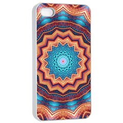 Blue Feather Mandala Apple iPhone 4/4s Seamless Case (White)