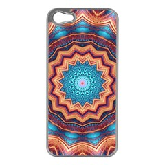 Blue Feather Mandala Apple iPhone 5 Case (Silver)
