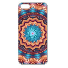Blue Feather Mandala Apple Seamless iPhone 5 Case (Clear)
