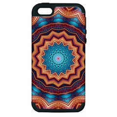 Blue Feather Mandala Apple Iphone 5 Hardshell Case (pc+silicone) by designworld65