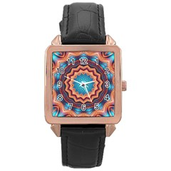 Blue Feather Mandala Rose Gold Leather Watch