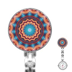 Blue Feather Mandala Stainless Steel Nurses Watch