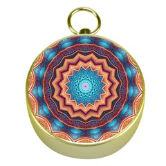 Blue Feather Mandala Gold Compasses