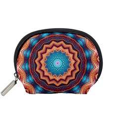Blue Feather Mandala Accessory Pouches (Small)