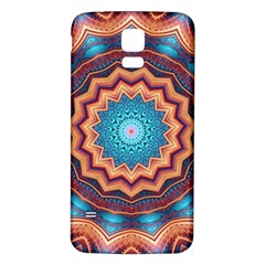 Blue Feather Mandala Samsung Galaxy S5 Back Case (white) by designworld65